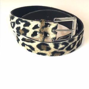 Vintage Fuzzy Leopard Print Belt